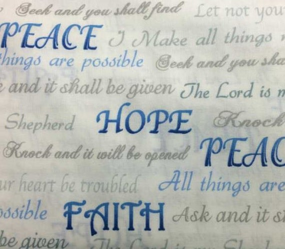Christian Fabric By the Yard or Half Yard Religious Faith Hope : religious quilting fabric - Adamdwight.com