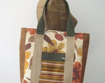 SALE! Vintage Burlap Tote/Overnight Bag/Diaper Bag, upcycled and Maine made