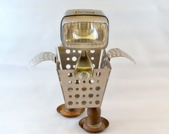 OLLIE THE OBSTINATE Assemblage Art Bird Robot Sculpture