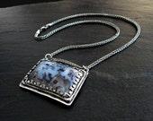 Merlinite Pendant: Fine Silver, Sterling Silver, 17.5 inch Wheat Chain, dendritic opal, dendritic agate, black dendrite, blue and white, PMC