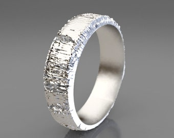 Platinum Aspen Tree Bark Wedding Band, Platinum Wedding Ring, Mens Wedding Band Wood, 5mm Wedding Band, Size 11 Ring, Size 9 Ring