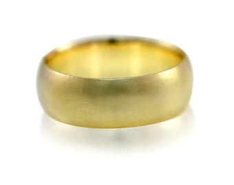 Mens Wedding Band, 7mm Wide Brushed Wedding Ring in Recycled 14k Yellow Gold, 14k White Gold or Palladium, Size 10 Ring or Your Size