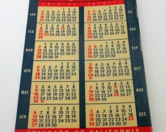 1948 Celluloid Calendar Standard of California