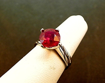AAA Natural Treated Red Ruby Round   8mm  2.80 Carats   14K white gold Bridal set 1364