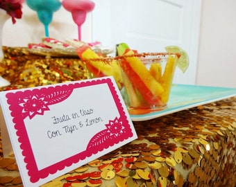Place cards or Food tents Fiesta  - DIY printable - Papel Picado - Editable in MS Word - Instant Download