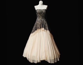 Vintage Strapless chiffon & Lace Dress