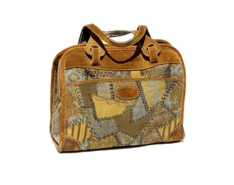 Vintage Woven and Leather Travel Bag / Overnight Tote Bag