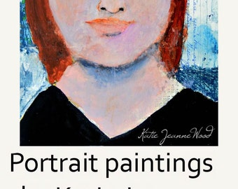 Acrylic Portrait Painting. Redhaired Woman Mixed Media Collage Art. Home Wall Decor Original.