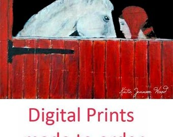 Girl & White Horse Painting Print. Equestrian Red Barn Print. Animal Art Prints. Mother Gift for Her