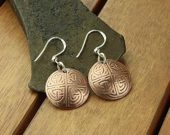 "Celtic copper earrings | domed copper earrings | celtic knot | copper dangle earrings | celtic jewelry | 1.5"" | made to order"