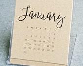 25% OFF SALE - 2016 Desktop Calendar - Black Hand Lettered Calligraphy Script Desk Calendar on Recycled Kraft Card Stock