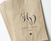 Wedding Candy Buffet Brown Kraft Favor Bags - Starfish, Calligraphy Script Font, Custom Favor Bags, Beach Wedding Candy Bar