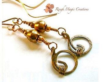 Rustic Copper Earrings, Boho Long Dangle Earrings, Bohemian Jewelry for Women, Hammered Metal, Edgy Urban Chic, African Tribal Beads E381