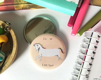 Jazzy Unicorn Pocket Mirror
