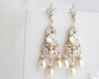 Pearl Chandelier Wedding Earrings Gold Bridal Earrings Pearl Wedding Jewelry Swarovski Crystal And Pearl Rhinestone Earrings ELOISA PEARL