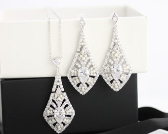 Wedding Jewelry Set Art Deco Earrings and Necklace Crystal Wedding Necklace Crystal Wedding Earrings Bridal Jewelry  JEAN