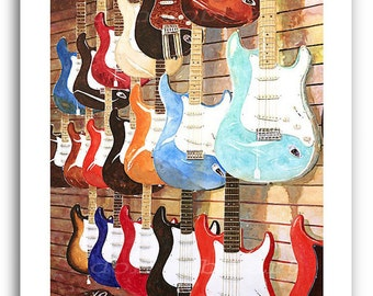 "Fender Guitar Art ""Fender Strats"" Prints Signed and Numbered"