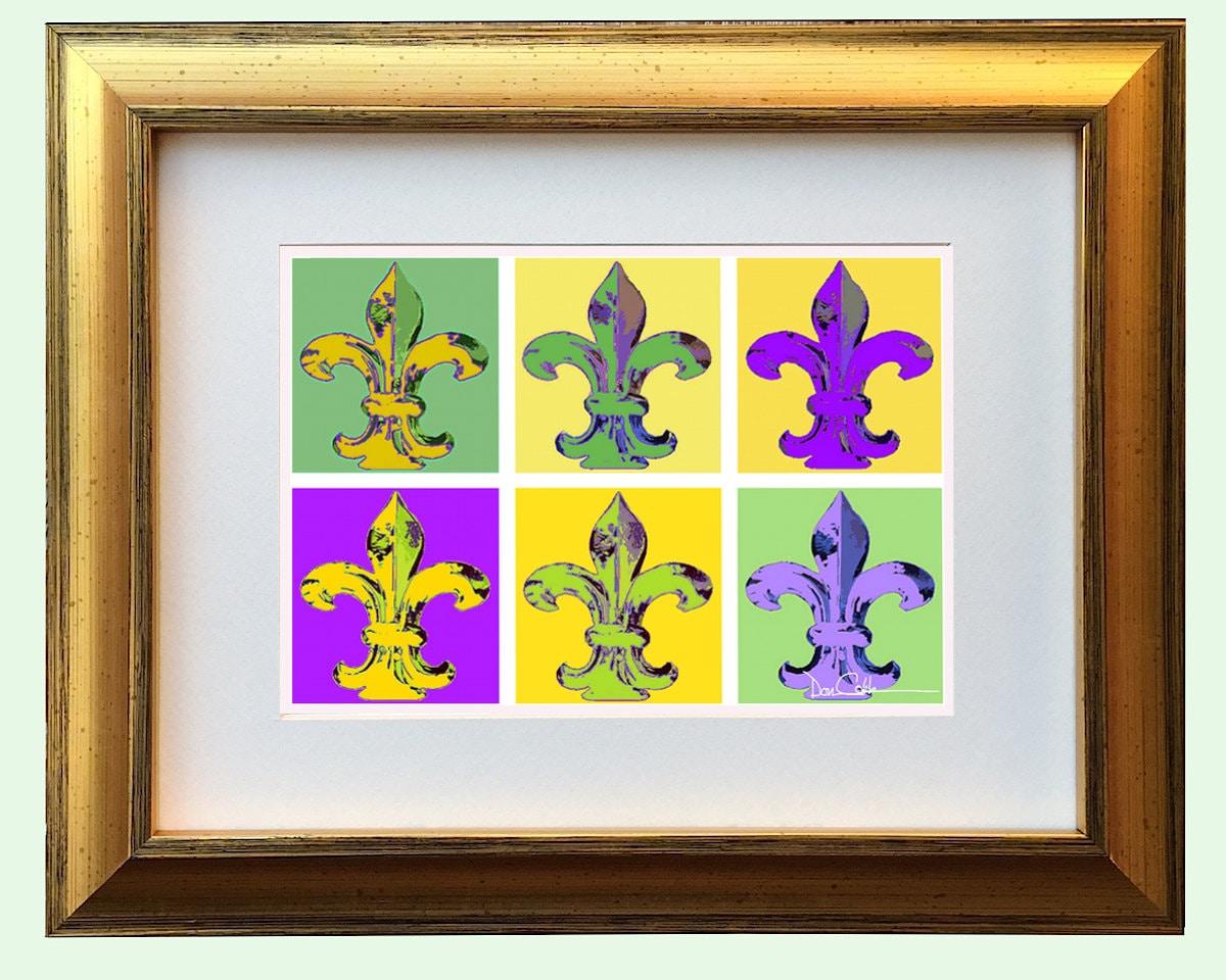 Mardi Gras Fleur De Lis Gold Framed Art Mardi Gras