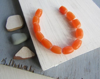yellow orange tube resin beads , small irregular opaque matte resin beads , faux amber, indonesia 9 x 14 mm   ( 12 beads )  6bb17