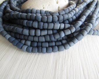 grey seed Beads, grey glass beads , opaque matte  small tube barrel spacer , indonesia,  New Indo-pacific 3 to 6mm / 22 inch strd - 6BB1-53