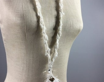 Uniquely Designed Fiber Art Necklace-White Feathers, White Silk Ribbons, Quartz Beads and Silver Hearts on a White Angora Cord-a tiny quiet