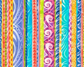 Jewels of the Sea Stripe Quilting Treasures Fabric 1 yard