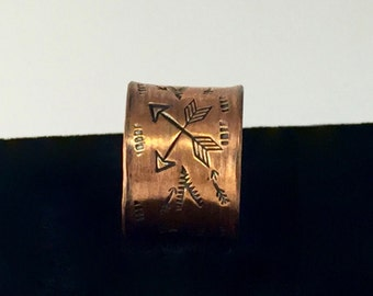 Copper Hand Stamped Arrow Patterned Wide Band - Made to Order