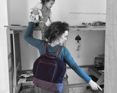 Vegan black backpack,canvas backpack, laptop backpack,student backpack,school backpack,fashion backpack,black and gray bag,Convertible bag