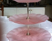 Vintage Mikasa pink glass tiered dish
