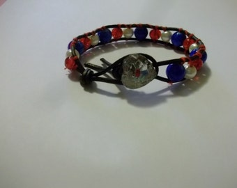 Sale Single Wrap Leather Bracelet with Red White and Blue Glass Beads Heart Button Closure 4th of July Wedding Summer Beach Sister Friend