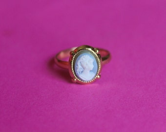 Tiny Blue Victorian Lady Cameo Ring