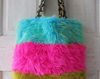 Large faux fur TOTE colorful bag Shoulder bag Quirky Hand made fake fur