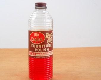 Vintage Old English Furniture Polish • Vintage Red Oil Polish • Mid Century Ribbed Tall Bottle