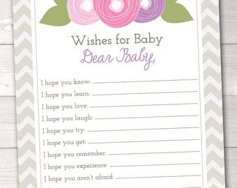 Printable Baby Wishes Card Pink and Purple Flower Doodles and Chevron Stripes INSTANT DOWNLOAD PDF