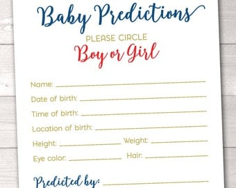 Baby Predictions Baby Shower Game Instant Download Printable PDF with Red Blue and Gold Polka Dot Confetti