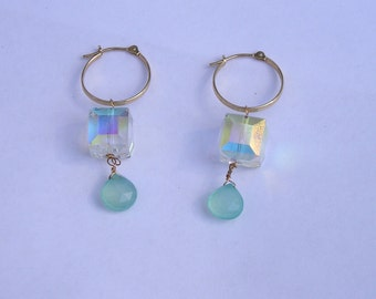 14K Gold Hoop Earrings with Faceted Crystals & Chrysoprase Briolette Drops