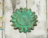 Verdigris Sunflower Charm Pendant Stamping Available with or without hole Brass Hand Applied {1pc} MVG10VG