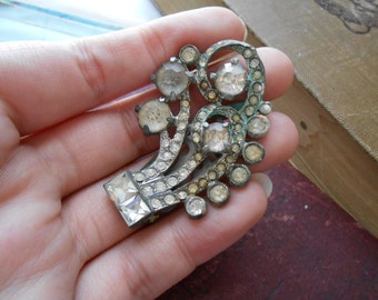 art deco pot metal silver dress clip antique rhinestone jewelry  - costume jewelry 1940s