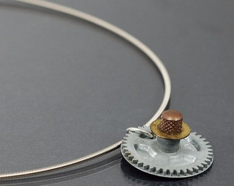 Guitar Steampunk Jewelry- Guitar String Necklace, Brass & Silver Clock Gear Necklace, Guitar String Jewelry, Industrial Steampunk Necklace