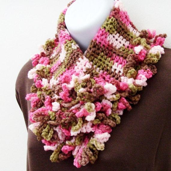 Romantic Ruffled Neck Shawl & Flower Brooch - Pin / Berry Pink  Mint Green Chocolate Brown OOAK Crochet Fashion Neck Warmer Scarf