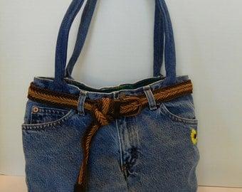 Upcycled Denim Shoulder Purse Bag with Belt