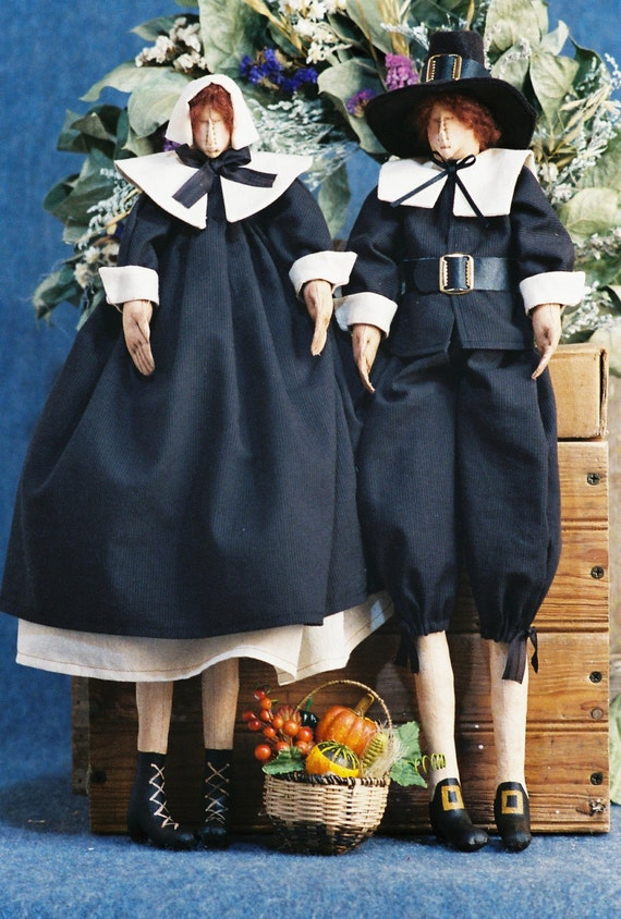 Cloth Doll Mailed Pattern Traditional Thanksgiving Pilgrim Couple