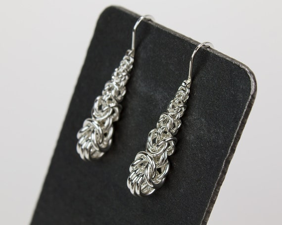 Silver Drop Earrings Short Handwoven Chainmaille Argentium Sterling Dangle Elegant Teardrop Hammered French Ear Hooks Silvery Anniversary