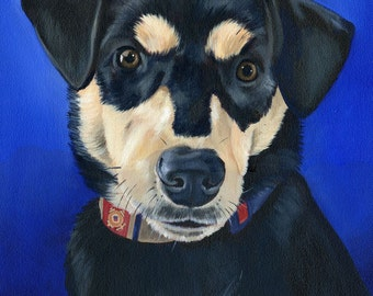 Custom Pet Portrait, Dog Portrait, Animal Painting, Dog Lover Gift size 12 x 16, Pet Memorial Painting from Photograph