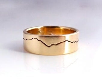 Gold Modern Mountain Ring, 6mm band, handmade with recycled 14k or 18k yellow Gold, Wedding ring, Anniversary band