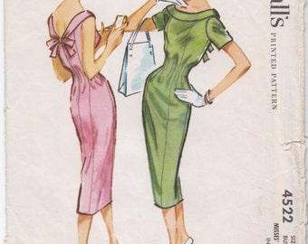 Vintage Pattern McCall's 4522 Sheath Dress  50s Size 12 B32