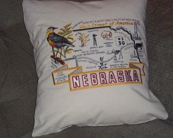 Embroidered State Map Pillow Nebraska
