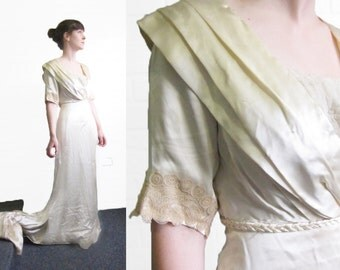 Antique Edwardian Wedding Dress - Cream Silk Satin 1900s Wedding Gown - Size Small S Vintage Lace Dress - Titanic Dress - Champagne Dress -