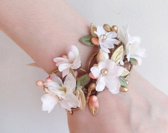 floral bracelet, pink and cream bridal cuff, bridal corsage, cuff bracelet, bridesmaid corsage wrist, floral jewelry, gold wedding, peach
