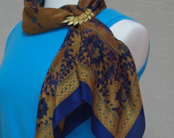 Vintage silk scarf Brown and blue floral print scarf Oversized silk scarf Liz Claiborne Fall and winter colors